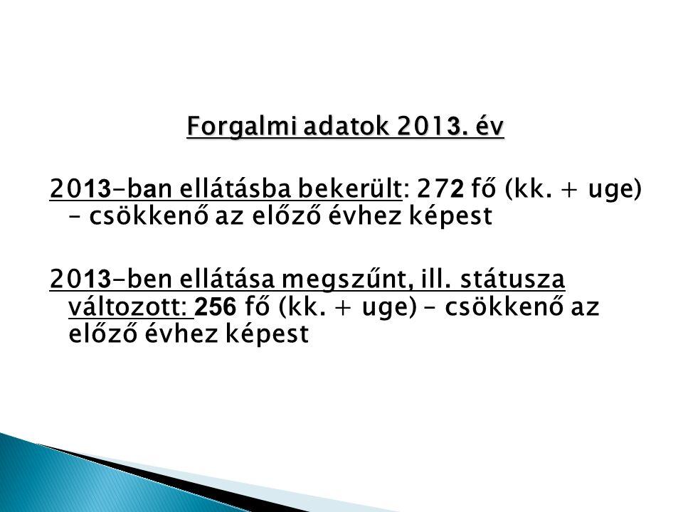 Forgalmi adatok 201 3. év 20 13 -b a n ellátásba bekerült: 27 2 fő (kk.