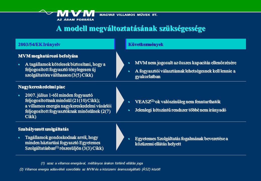 """Ajánlások összefoglalása PPA-k  Eladni egy (vagy egyetlen csoport) PPA-t Nagykereskedelem  VEASZ-ok megszüntetése  Teljesen liberalizált nagykereskedelmi bilaterális piac bevezetése:  MVM általi éves áram árverés (mint a CEZ """"Szivárvány )  Nyereség-sapka Szabályozott szolgáltatás  ÁSZ(ok) átalakulása ESZ(ek)-re Iparági Modell Szolgáltatói piacra való belépés  Fogyasztói bázis kialakítása a liberalizált piacon Új kapacitások létrehozása  Szivattyús tározó erőmű  Paksi Atomerőmű üzemidő hosszabbítás Jelentős regionális kereskedő vállalat  nagyságrend  tőkeemelés  gazdaságot segítő versenyképes villamos energia MVM Üzleti Modellje"""