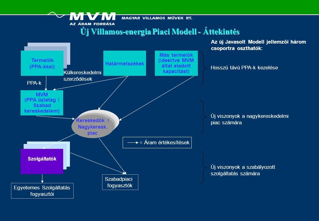 Új Villamos-energia Piaci Modell: Létező PPA-k Jegyzet:(1) Csak Paks (1,760 MW) és Mátra (798 MW) képesek versenyképes zsinór terhelésre; Tisza (808 MW) és Dunamenti F (1,213 MW) csúcs terhelést biztosítanak; Csepel (367 MW), Budapesti (368 MW) és Dunamenti CCGT (363 MW) maradnak további csúcsigények és a kiegyenlítő terhelés biztosítására  Folyamatos kényszer az MVM-en a PPA-k újratárgyalására: -Szerződött kapacitást csökkenteni -Árat csökkenteni -Fedezeti szerződéssé átalakítani MEH Tervezett Modell  Ha a regionális piacon domináns szerep lenne, eladni egy (vagy egyetlen csoport) PPA-t Javasolt Modell Értékelés Javaslat  PPA-k kötelező megszüntetésének hiánya  Termelők mindeddig elzárkózóak  Fedezeti szerződéshez szükséges: – Megegyezés a termékben (pl.