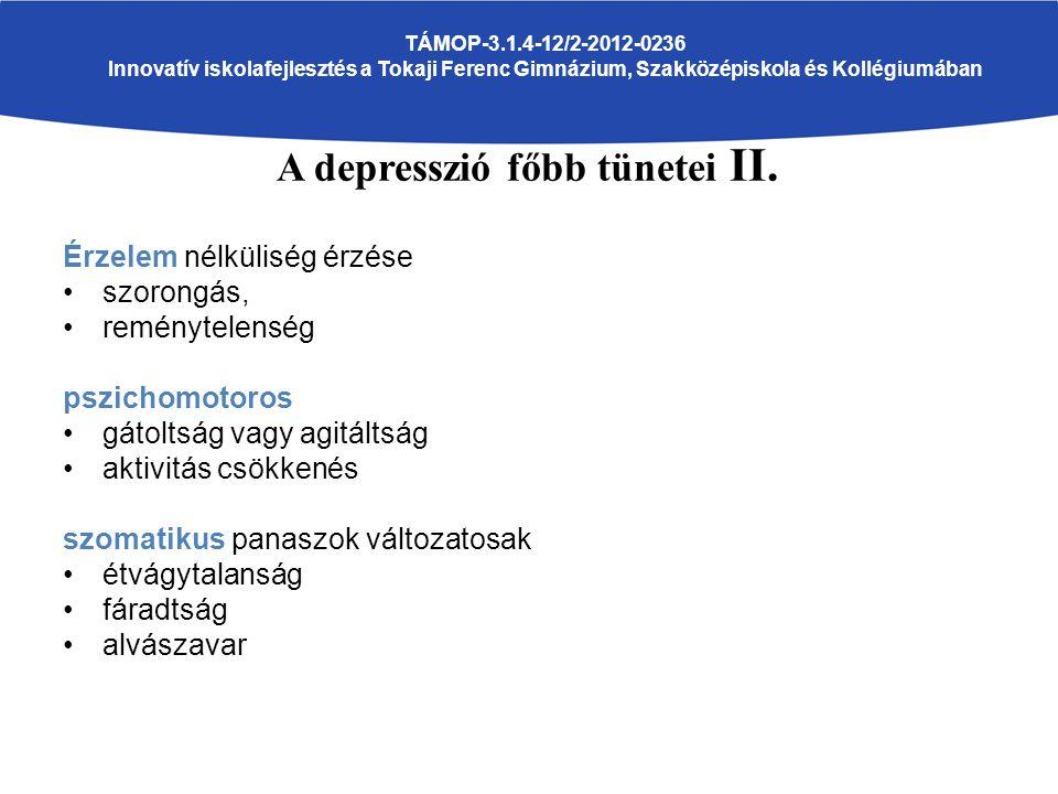 TÁMOP-3.1.4-12/2-2012-0236 Innovatív iskolafejlesztés a Tokaji Ferenc Gimnázium, Szakközépiskola és Kollégiumában A depresszió főbb tünetei II.