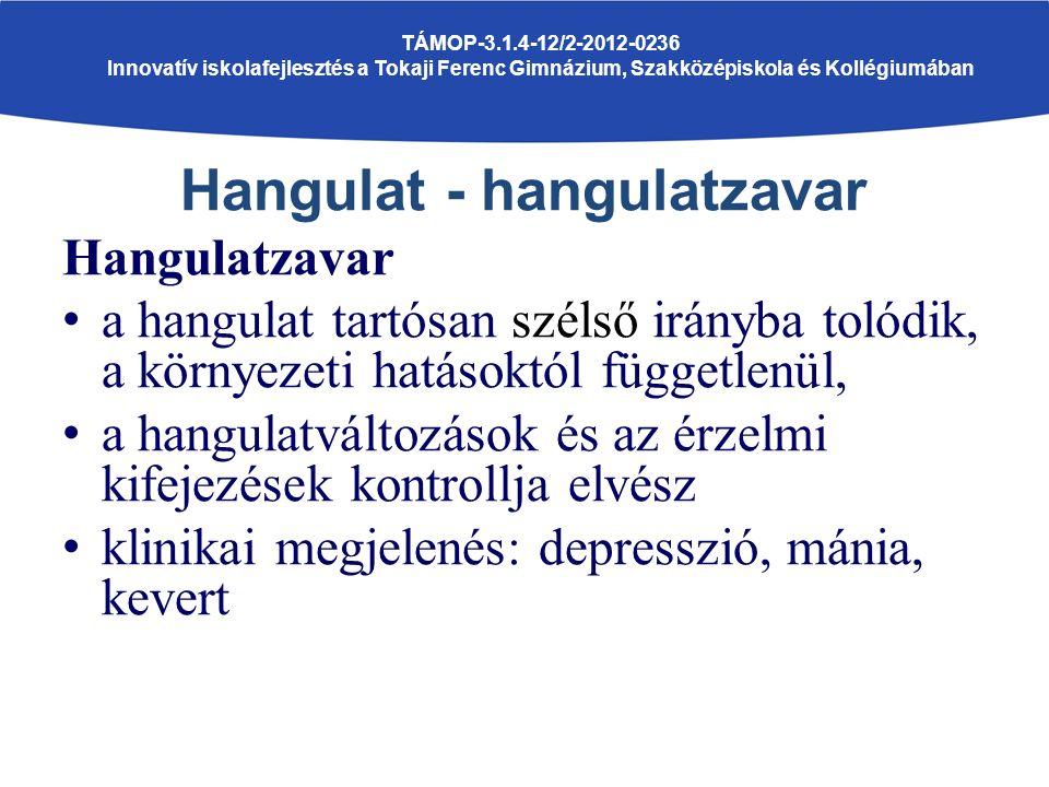 Hangulat - hangulatzavar Hangulatzavar a hangulat tartósan szélső irányba tolódik, a környezeti hatásoktól függetlenül, a hangulatváltozások és az érzelmi kifejezések kontrollja elvész klinikai megjelenés: depresszió, mánia, kevert TÁMOP-3.1.4-12/2-2012-0236 Innovatív iskolafejlesztés a Tokaji Ferenc Gimnázium, Szakközépiskola és Kollégiumában