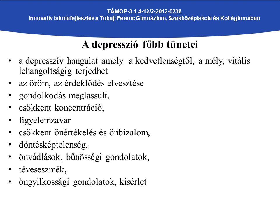 a depresszív hangulat amely a kedvetlenségtől, a mély, vitális lehangoltságig terjedhet az öröm, az érdeklődés elvesztése gondolkodás meglassult, csökkent koncentráció, figyelemzavar csökkent önértékelés és önbizalom, döntésképtelenség, önvádlások, bűnösségi gondolatok, téveseszmék, öngyilkossági gondolatok, kísérlet TÁMOP-3.1.4-12/2-2012-0236 Innovatív iskolafejlesztés a Tokaji Ferenc Gimnázium, Szakközépiskola és Kollégiumában A depresszió főbb tünetei