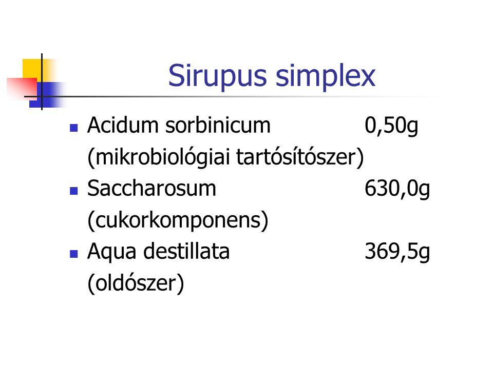 Sirupus simplex Acidum sorbinicum0,50g (mikrobiológiai tartósítószer) Saccharosum630,0g (cukorkomponens) Aqua destillata369,5g (oldószer)