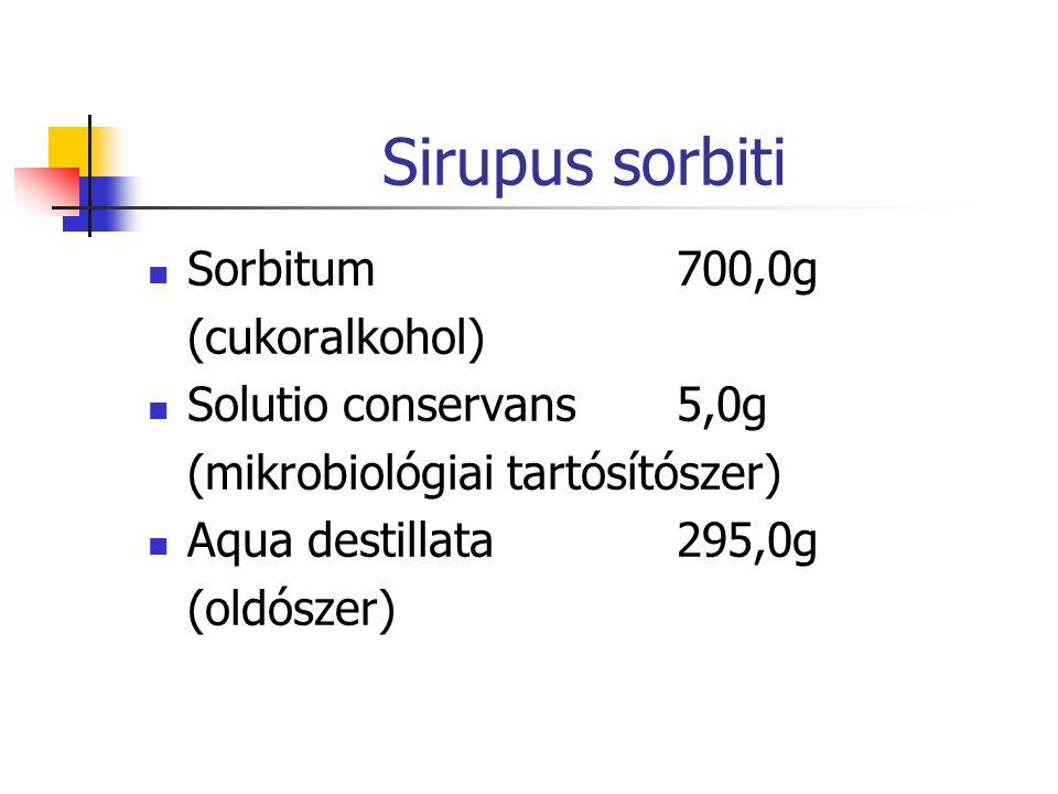 Sirupus sorbiti Sorbitum700,0g (cukoralkohol) Solutio conservans5,0g (mikrobiológiai tartósítószer) Aqua destillata295,0g (oldószer)