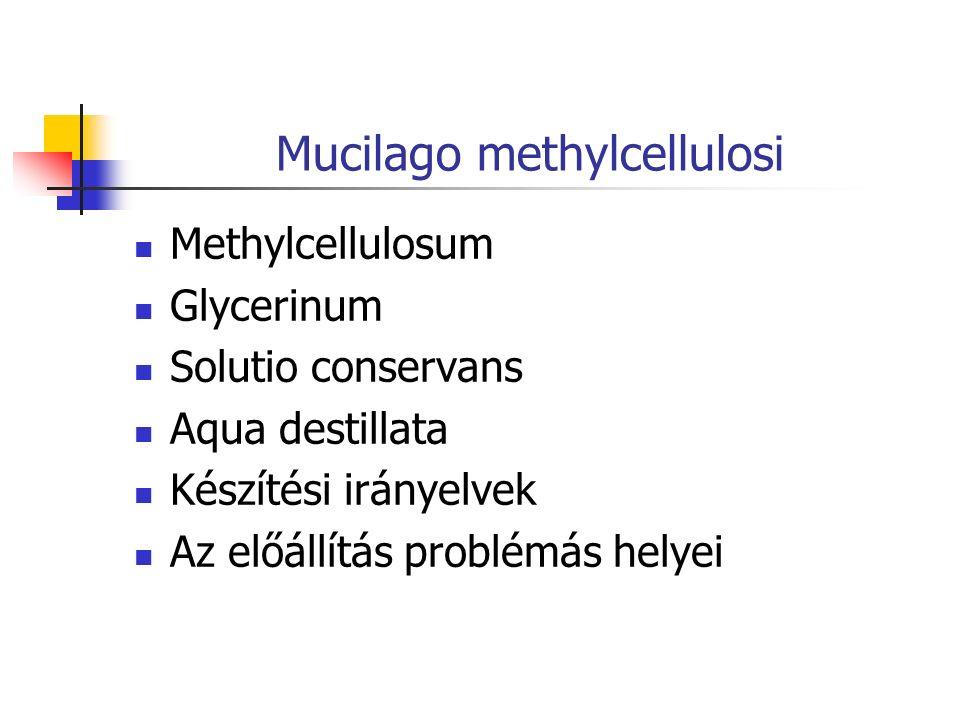 Mucilago methylcellulosi Methylcellulosum Glycerinum Solutio conservans Aqua destillata Készítési irányelvek Az előállítás problémás helyei