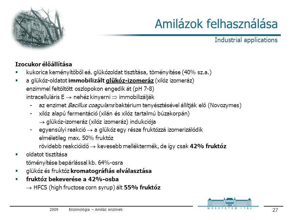 2009Enzimológia – Amiláz enzimek 27 Amilázok felhasználása Izocukor élőállítása  kukorica keményítőből eá.
