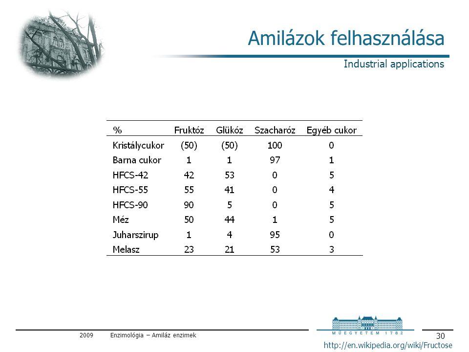 2009Enzimológia – Amiláz enzimek 30 Amilázok felhasználása http://en.wikipedia.org/wiki/Fructose Industrial applications