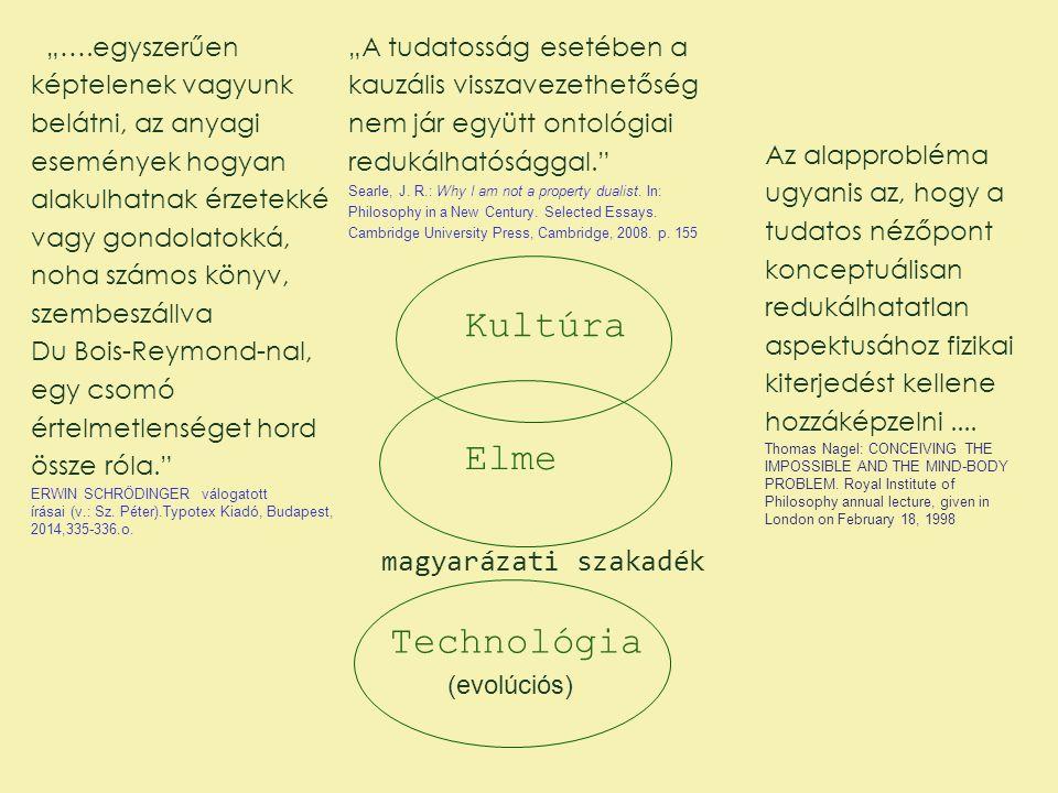 """Kultúra Elme Technológia magyarázati szakadék (evolúciós) """"….egyszerűen képtelenek vagyunk belátni, az anyagi események hogyan alakulhatnak érzetekké"""