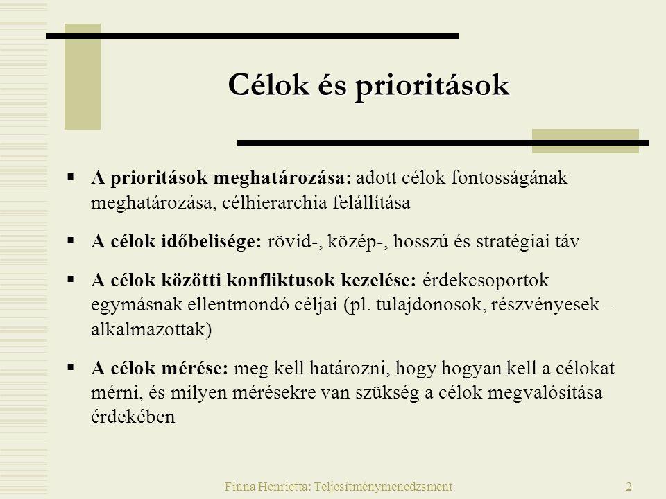 Finna Henrietta: Teljesítménymenedzsment3 A prioritások meghatározása  Adott célok fontosságának meghatározása Célok meghatározása a vállalkozás és környezete alapján Célok rangsorolása –Fő és mellékcélok, alcélok elkülönítése  Célhierarchia felállítása  Célok viszonya  Semleges, egymást erősítő, gyengítő Mellékcél 1 Főcél 1 Alcél 1 Alcél 2