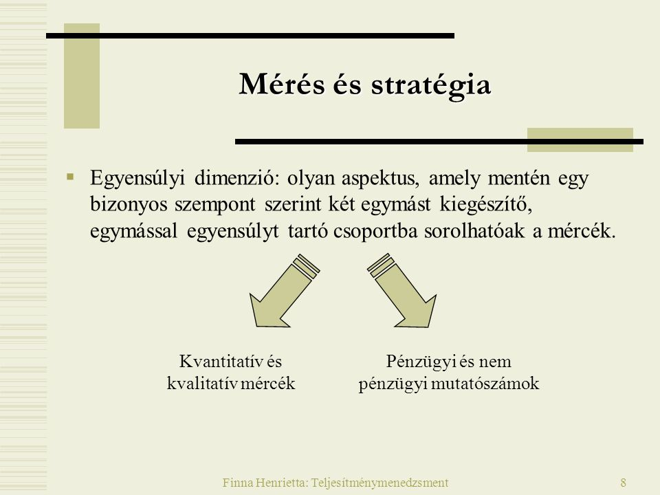 Finna Henrietta: Teljesítménymenedzsment9 Teljesítménytényezők (kvantitatív)  Gazdaságosság: a tevékenység nyereségessége  Piaclefedés: a tényleges használók aránya a lehetséges használókhoz képest  Eredményesség: sikerrel, eredménnyel járó tevékenység megvalósulása (cél elérése)  Hatékonyság: a ráfordításokat és a hatásokat tükröző eredmények viszonya  Költséghatékonyság: adott költségre jutó eredményesség  Költségek: kiadások (közvetlenül pénz, vagy közvetve munkaerő, idő, helyiség stb.)  Termelékenység: egységnyi idő alatt nyújtott szolgáltatás