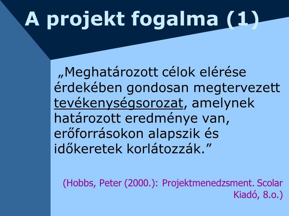"""A projekt fogalma (1) """"Meghatározott célok elérése érdekében gondosan megtervezett tevékenységsorozat, amelynek határozott eredménye van, erőforrásoko"""
