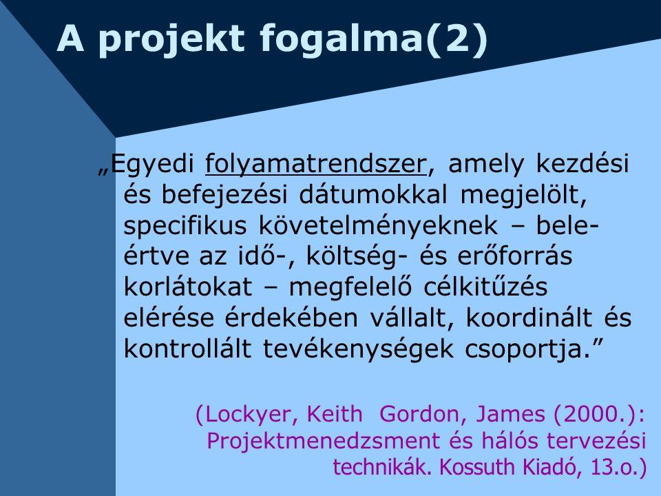 """A projekt fogalma(2) """"Egyedi folyamatrendszer, amely kezdési és befejezési dátumokkal megjelölt, specifikus követelményeknek – bele- értve az idő-, kö"""