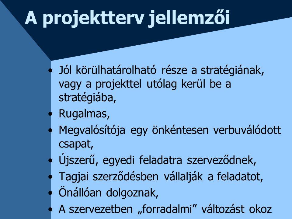 A projektterv jellemzői Jól körülhatárolható része a stratégiának, vagy a projekttel utólag kerül be a stratégiába, Rugalmas, Megvalósítója egy önként