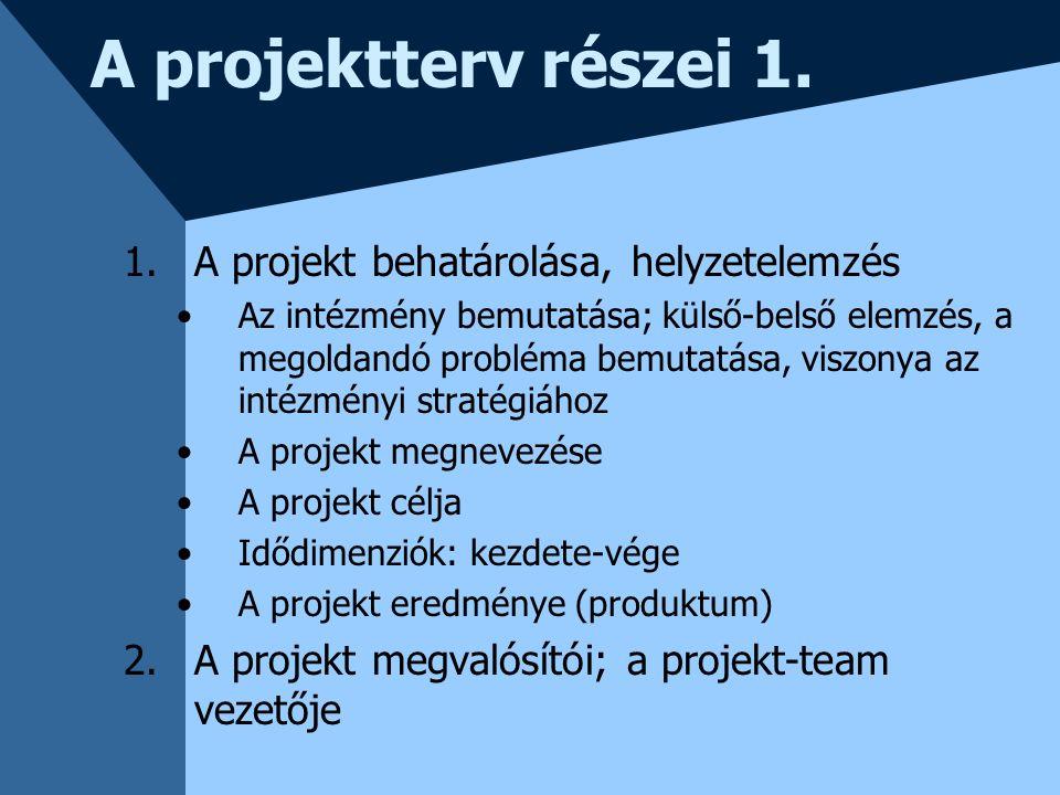 A projektterv részei 1. 1.A projekt behatárolása, helyzetelemzés Az intézmény bemutatása; külső-belső elemzés, a megoldandó probléma bemutatása, viszo