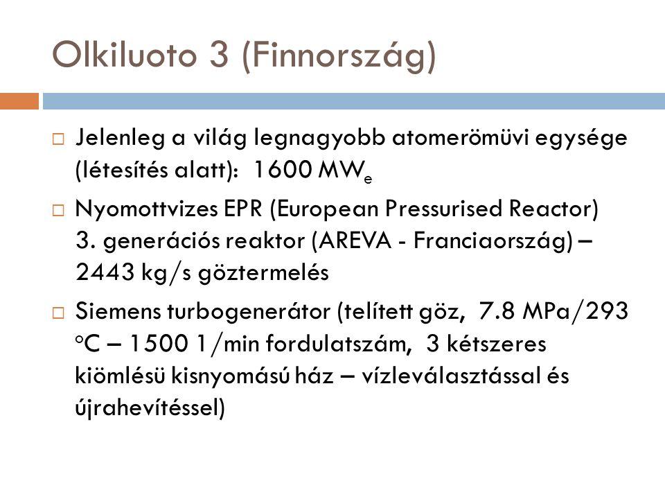  Jelenleg a világ legnagyobb atomerömüvi egysége (létesítés alatt): 1600 MW e  Nyomottvizes EPR (European Pressurised Reactor) 3.