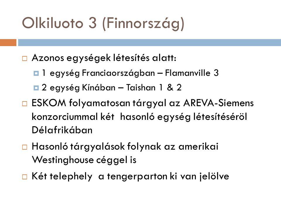 Olkiluoto 3 (Finnország)  Azonos egységek létesítés alatt:  1 egység Franciaországban – Flamanville 3  2 egység Kínában – Taishan 1 & 2  ESKOM folyamatosan tárgyal az AREVA-Siemens konzorciummal két hasonló egység létesítéséröl Délafrikában  Hasonló tárgyalások folynak az amerikai Westinghouse céggel is  Két telephely a tengerparton ki van jelölve