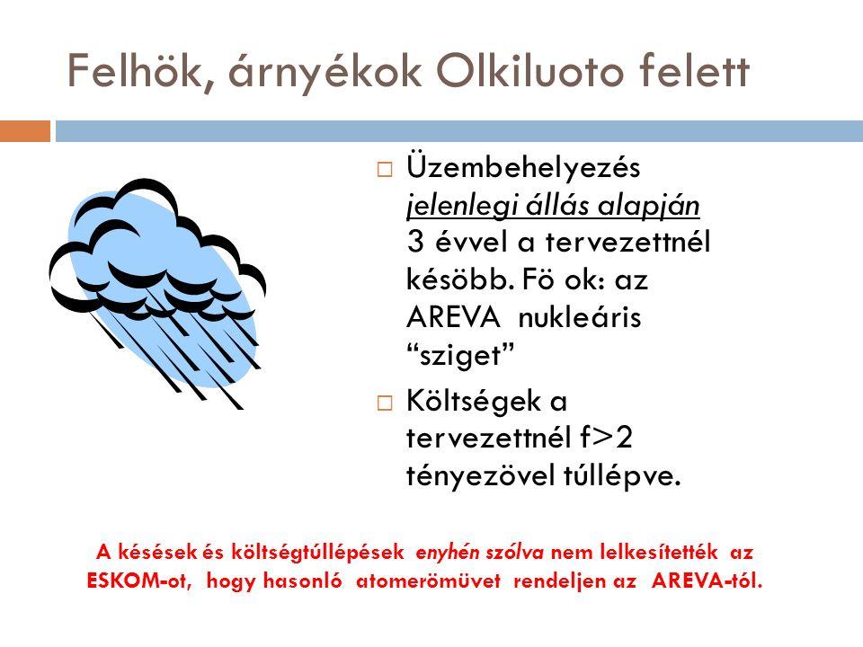 Felhök, árnyékok Olkiluoto felett  Üzembehelyezés jelenlegi állás alapján 3 évvel a tervezettnél késöbb.