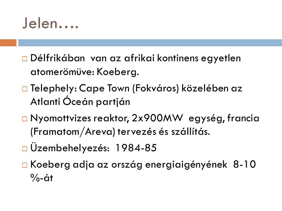 Jelen…. Délfrikában van az afrikai kontinens egyetlen atomerömüve: Koeberg.