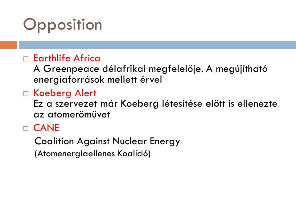 Opposition  Earthlife Africa A Greenpeace délafrikai megfelelöje. A megújítható energiaforrások mellett érvel  Koeberg Alert Ez a szervezet már Koeb
