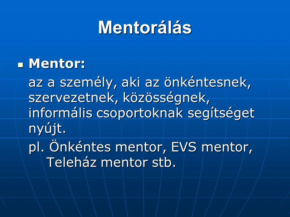 Mentorálás Mentor: Mentor: az a személy, aki az önkéntesnek, szervezetnek, közösségnek, informális csoportoknak segítséget nyújt.