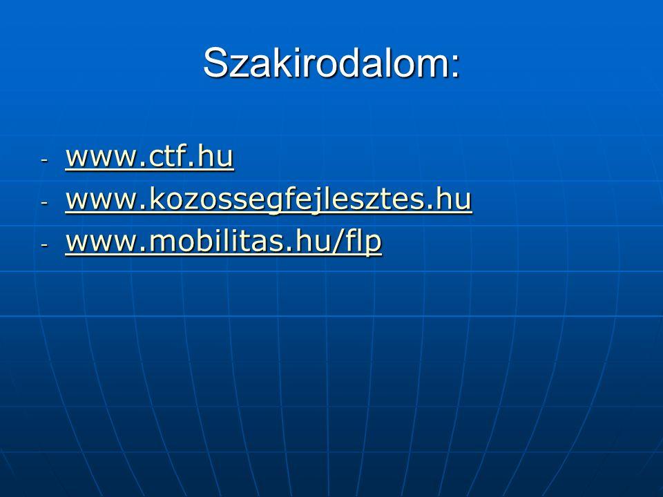 Szakirodalom: - www.ctf.hu www.ctf.hu - www.kozossegfejlesztes.hu www.kozossegfejlesztes.hu - www.mobilitas.hu/flp www.mobilitas.hu/flp