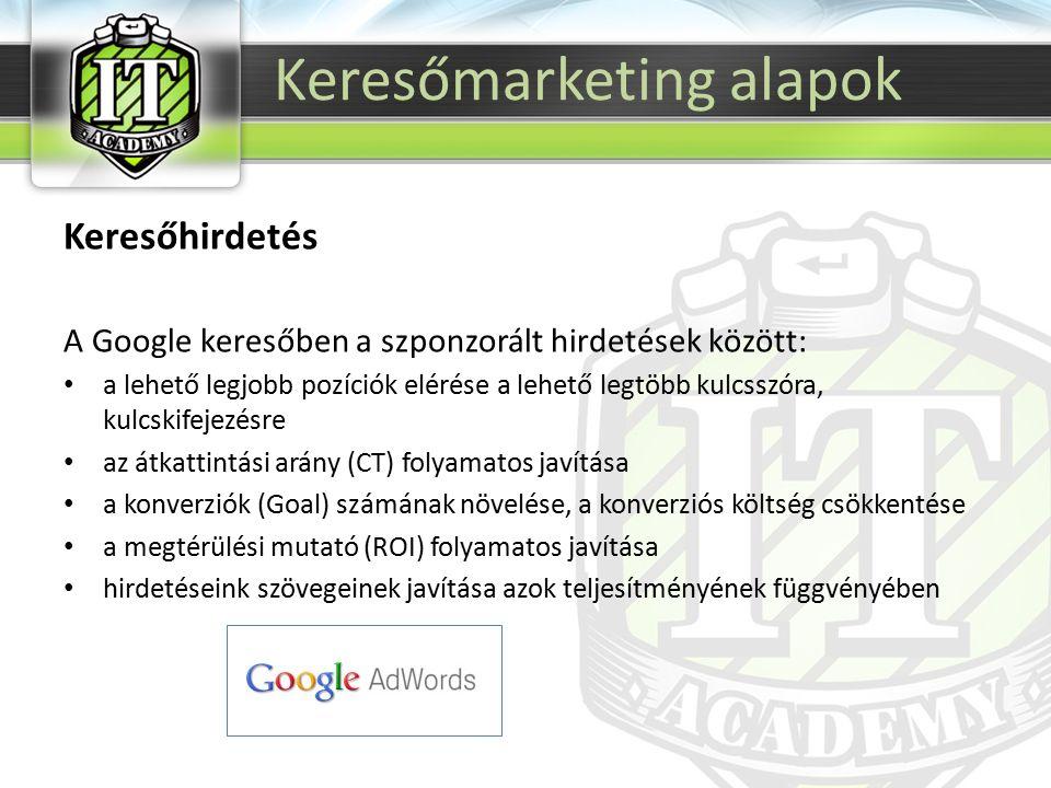 Keresőhirdetés A Google keresőben a szponzorált hirdetések között: a lehető legjobb pozíciók elérése a lehető legtöbb kulcsszóra, kulcskifejezésre az