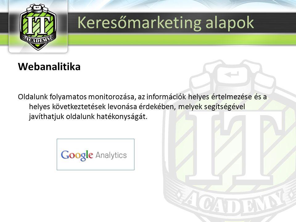 Webanalitika Oldalunk folyamatos monitorozása, az információk helyes értelmezése és a helyes következtetések levonása érdekében, melyek segítségével javíthatjuk oldalunk hatékonyságát.