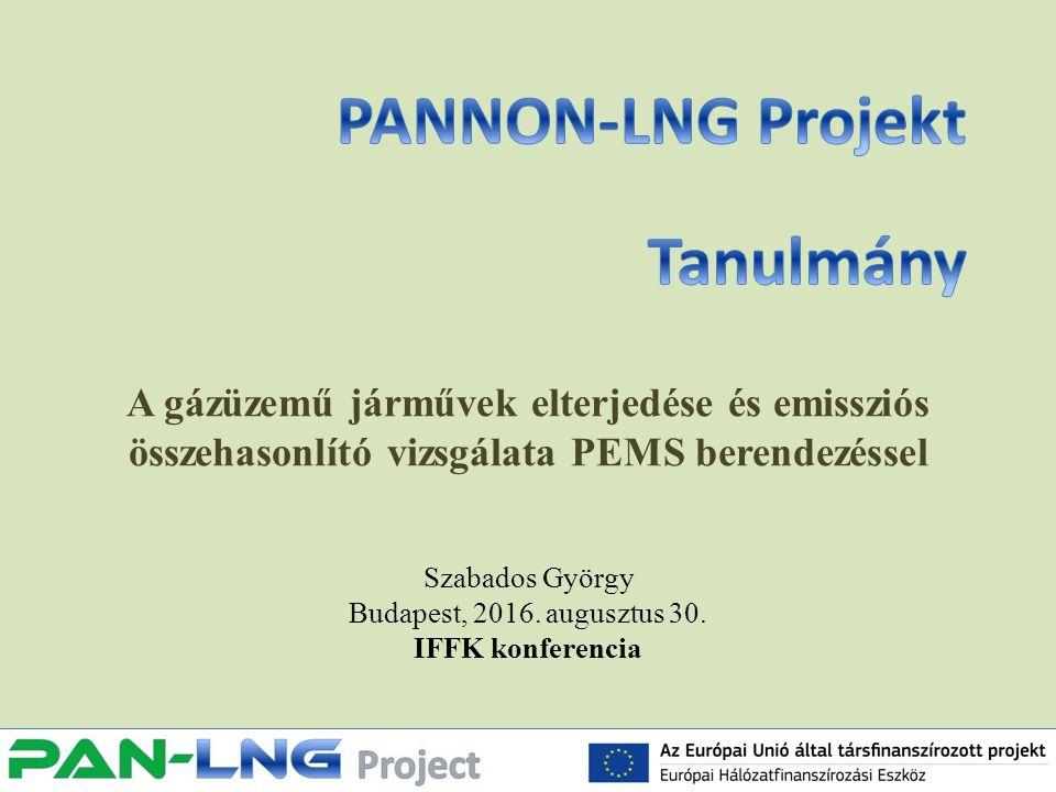 A gázüzemű járművek elterjedése és emissziós összehasonlító vizsgálata PEMS berendezéssel Szabados György Budapest, 2016.