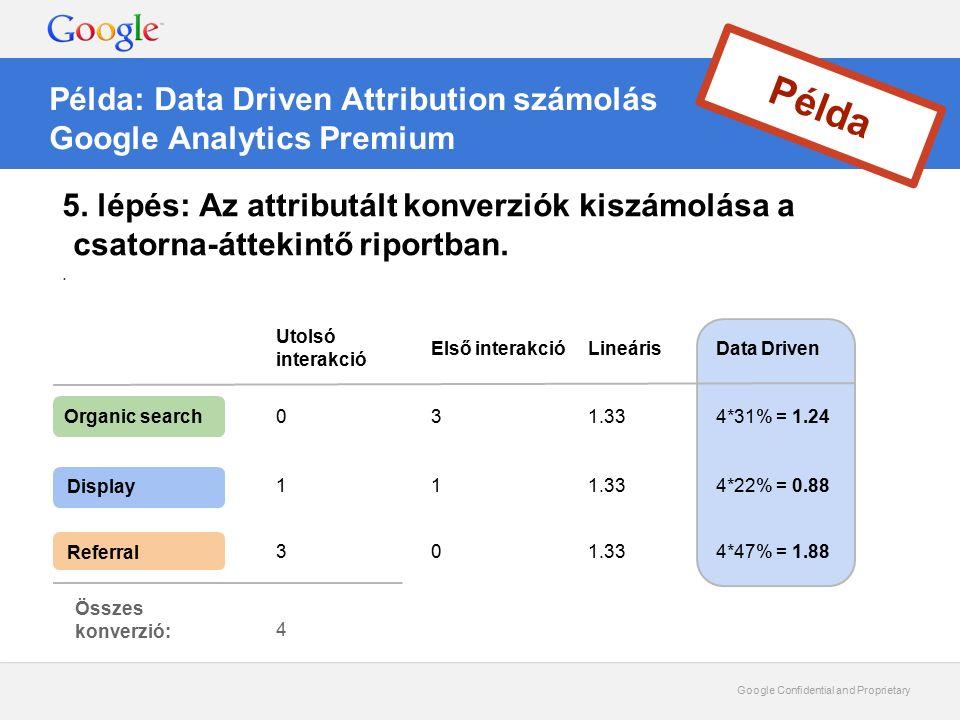Google Confidential and Proprietary Példa: Data Driven Attribution számolás Google Analytics Premium Példa 5. lépés: Az attributált konverziók kiszámo