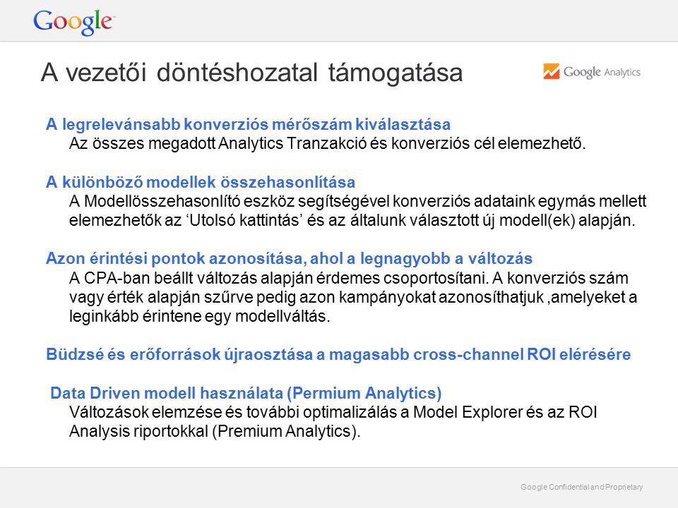 Google Confidential and Proprietary A vezetői döntéshozatal támogatása A legrelevánsabb konverziós mérőszám kiválasztása Az összes megadott Analytics Tranzakció és konverziós cél elemezhető.