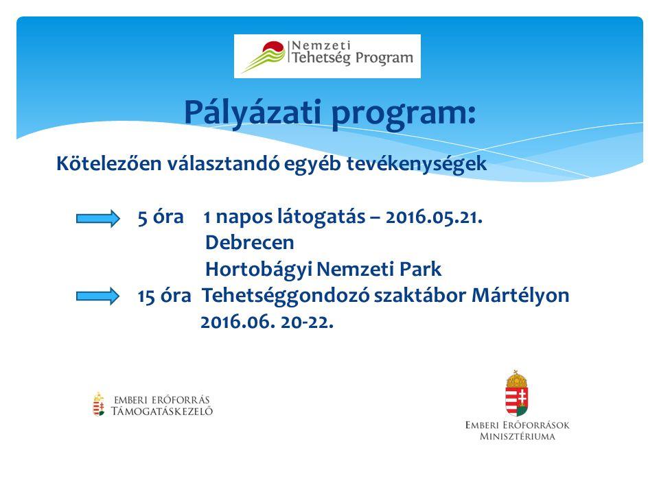Pályázati program: Kötelezően választandó egyéb tevékenységek 5 óra 1 napos látogatás – 2016.05.21.