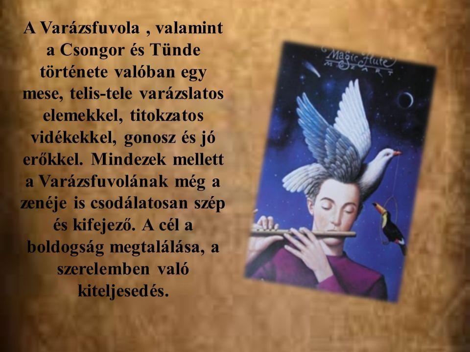 A Varázsfuvola, valamint a Csongor és Tünde története valóban egy mese, telis-tele varázslatos elemekkel, titokzatos vidékekkel, gonosz és jó erőkkel.