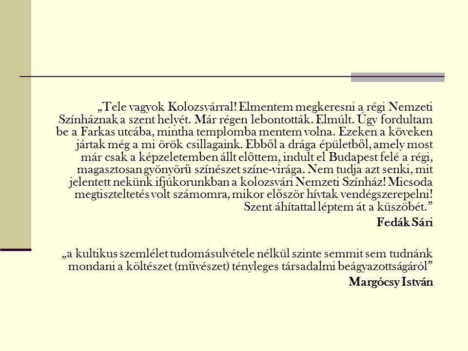 """""""Tele vagyok Kolozsvárral. Elmentem megkeresni a régi Nemzeti Színháznak a szent helyét."""