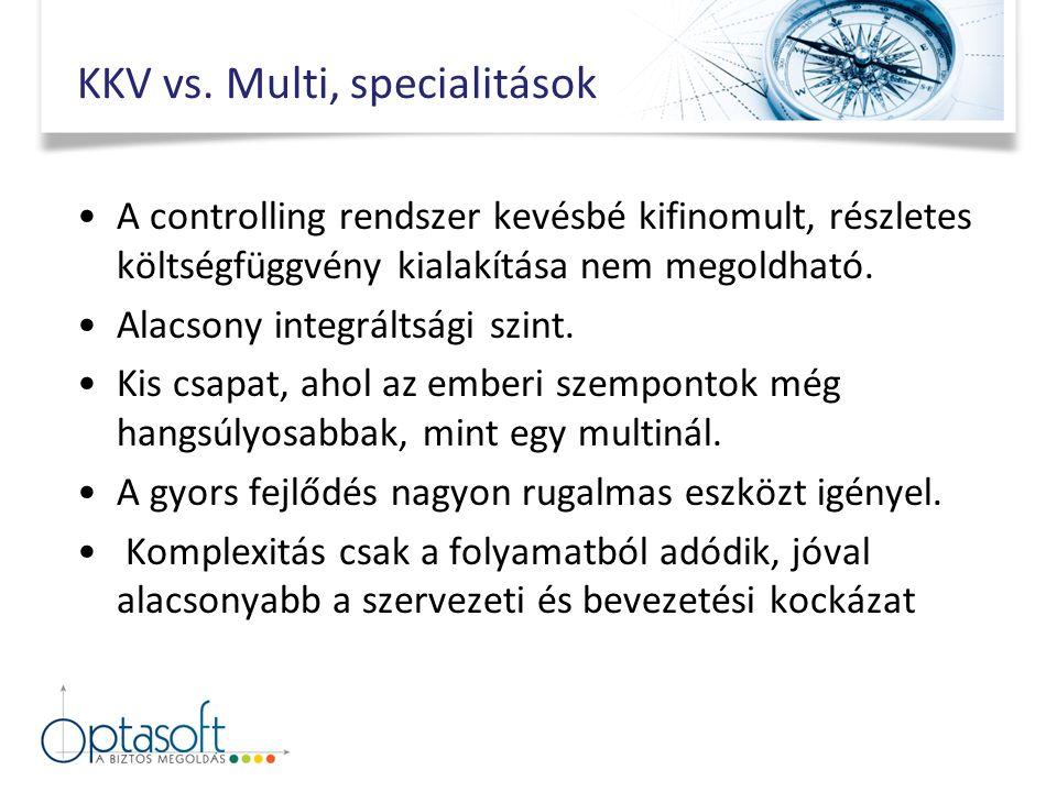 KKV vs. Multi, specialitások A controlling rendszer kevésbé kifinomult, részletes költségfüggvény kialakítása nem megoldható. Alacsony integráltsági s