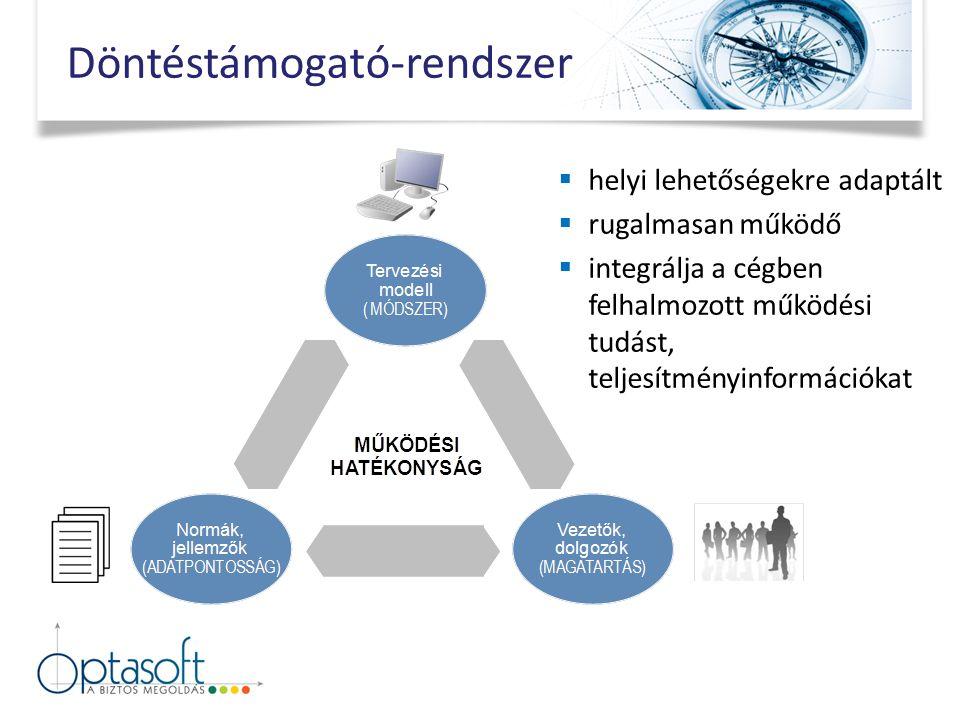  helyi lehetőségekre adaptált  rugalmasan működő  integrálja a cégben felhalmozott működési tudást, teljesítményinformációkat Döntéstámogató-rendszer