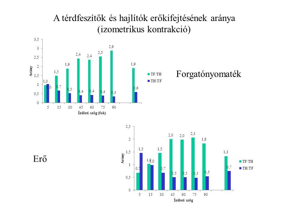Hajlítók/feszítők erő (forgatónyomaték) aránya Hagyományos arány: Izometriás H/Q arány Koncentrikus (izokinetikus) H/Q arány Funkcionális arány: Hajlító maximális excentrikus erő/ feszítő maximális koncentrikus erő
