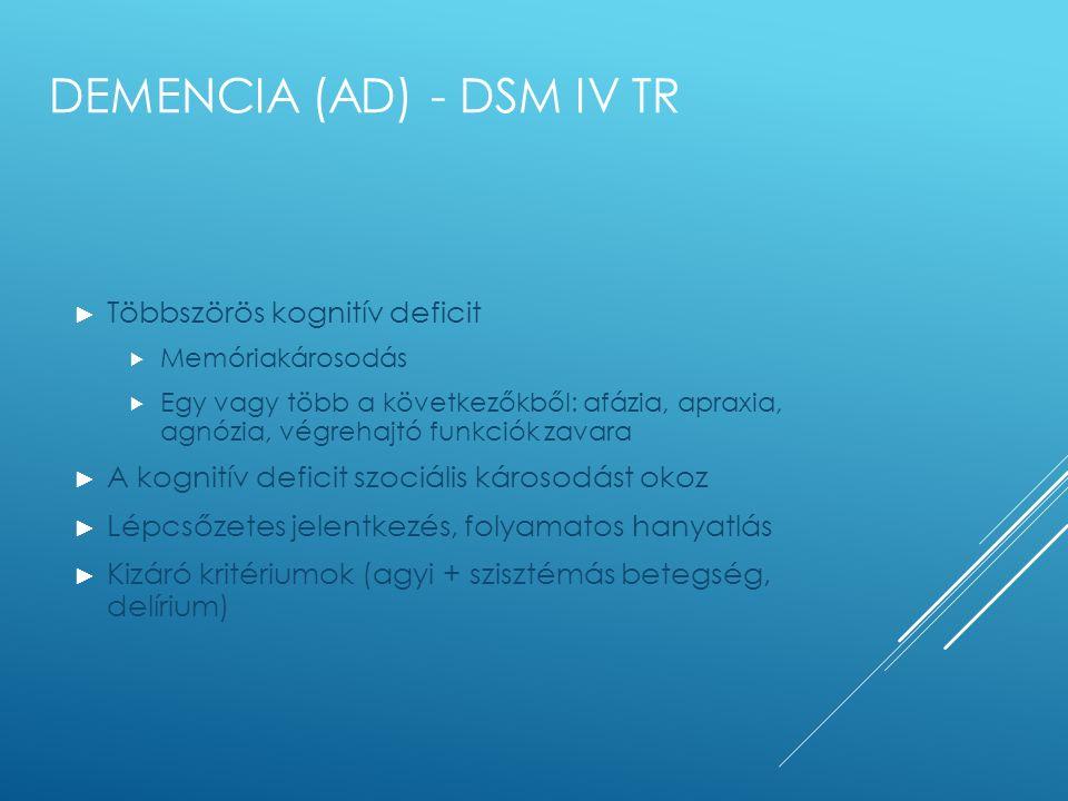 DEMENCIA (AD) - DSM IV TR ► Többszörös kognitív deficit  Memóriakárosodás  Egy vagy több a következőkből: afázia, apraxia, agnózia, végrehajtó funkc