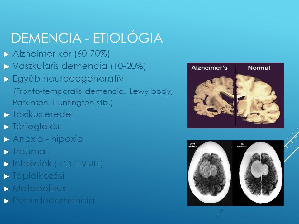 DEMENCIA - ETIOLÓGIA ► Alzheimer kór (60-70%) ► Vaszkuláris demencia (10-20%) ► Egyéb neurodegeneratív (Fronto-temporális demencia, Lewy body, Parkins