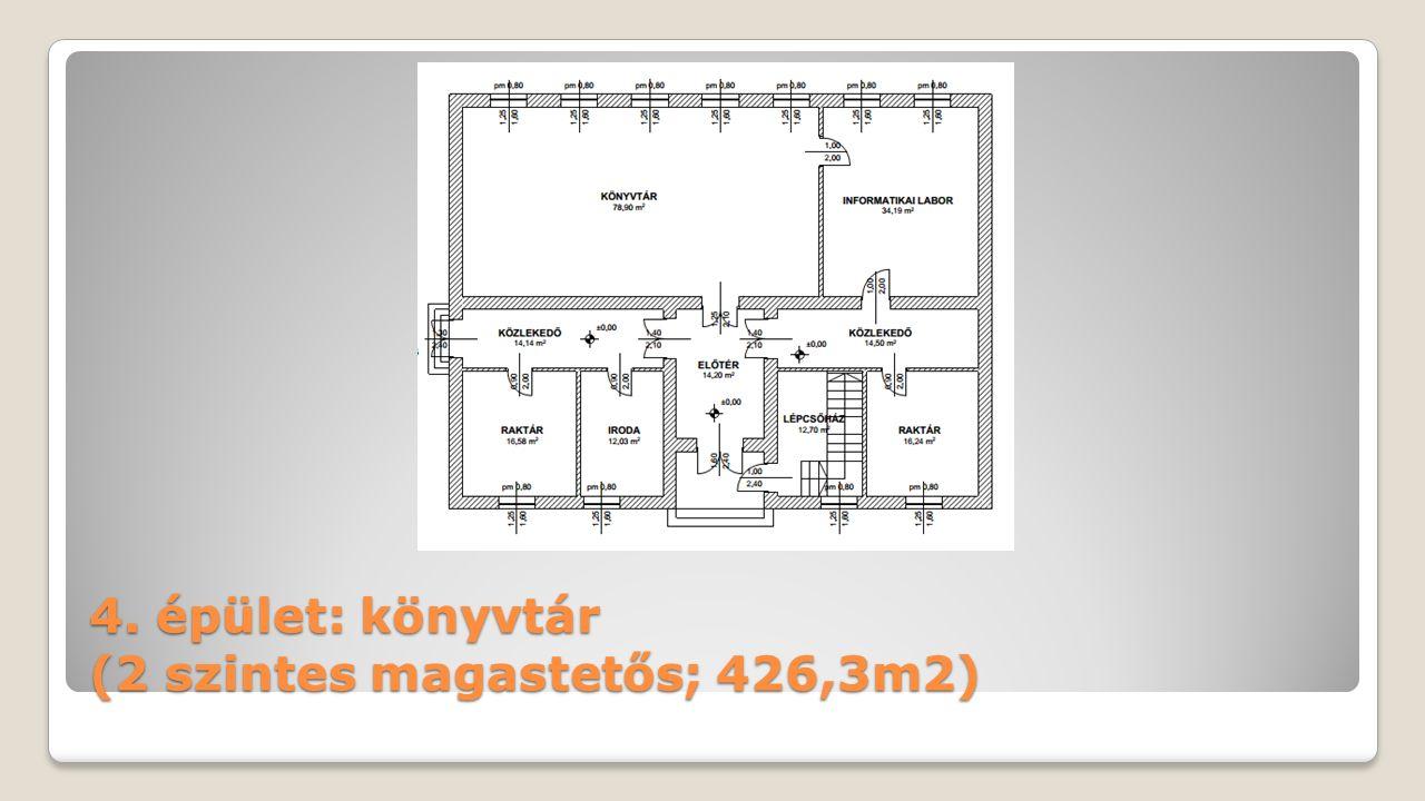 4. épület: könyvtár (2 szintes magastetős; 426,3m2)