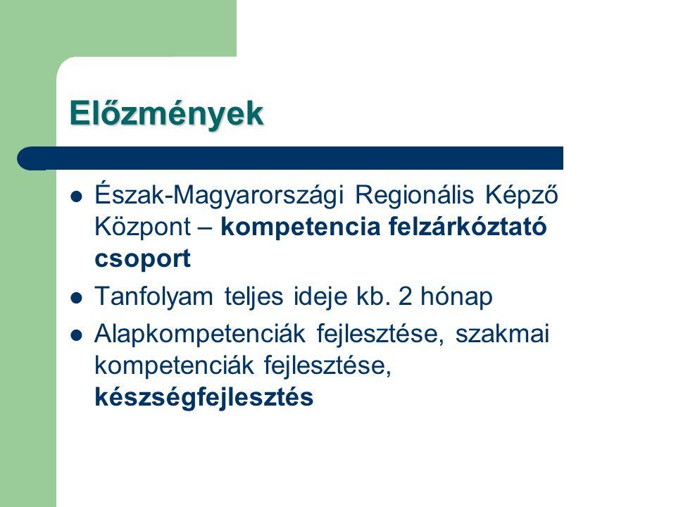 Előzmények Észak-Magyarországi Regionális Képző Központ – kompetencia felzárkóztató csoport Tanfolyam teljes ideje kb. 2 hónap Alapkompetenciák fejles