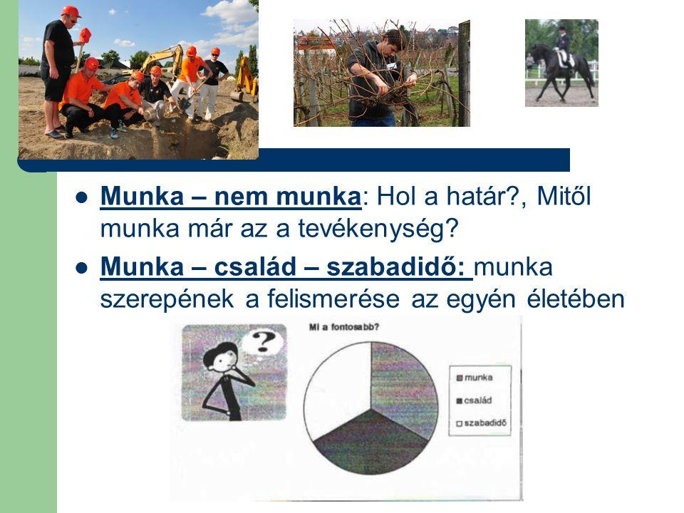 Munka – nem munka: Hol a határ , Mitől munka már az a tevékenység.