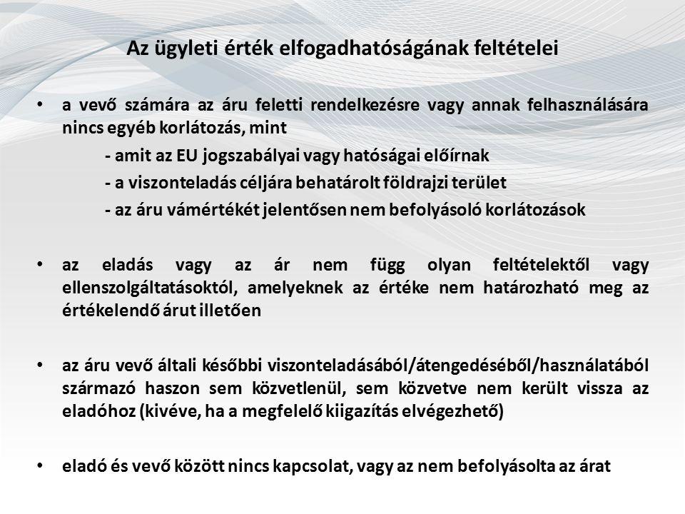 Vámérték növelő tényezők Uniós Vámkódex 71.