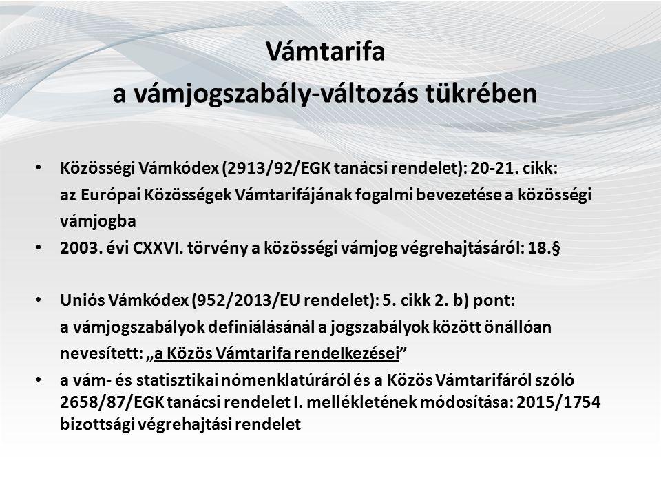 Kötelező Tarifális Felvilágosítás Uniós Vámkódex (952/2013/EU rendelet): 33., 34., 36., 37.