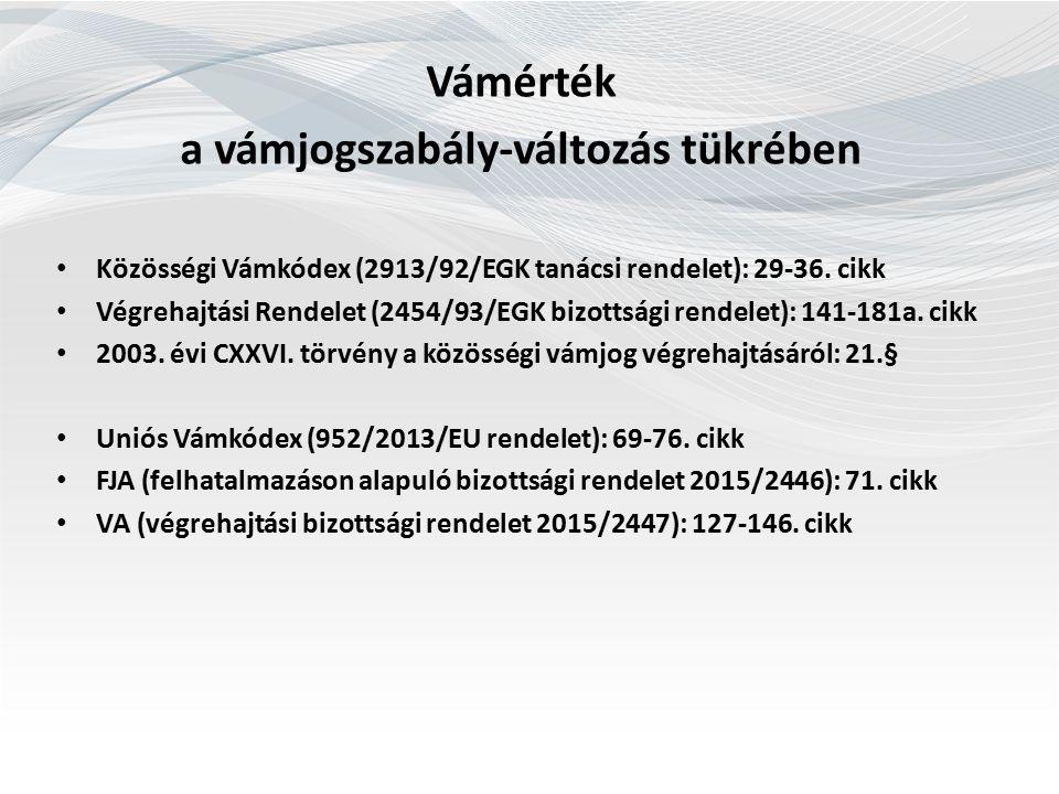 Vámértékre vonatkozó rendelkezések Közösségi Vámkódex 29.