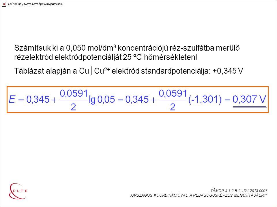 """AZ ELEKTRÓDPOTENCIÁL SZÁMÍTÁSA TÁMOP 4.1.2.B.2-13/1-2013-0007 """"ORSZÁGOS KOORDINÁCIÓVAL A PEDAGÓGUSKÉPZÉS MEGÚJÍTÁSÁÉRT Számítsuk ki a 0,050 mol/dm 3 koncentrációjú réz-szulfátba merülő rézelektród elektródpotenciálját 25 ºC hőmérsékleten."""