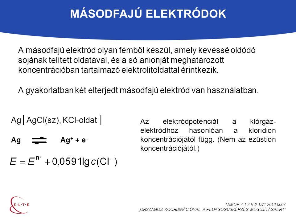 """MÁSODFAJÚ ELEKTRÓDOK TÁMOP 4.1.2.B.2-13/1-2013-0007 """"ORSZÁGOS KOORDINÁCIÓVAL A PEDAGÓGUSKÉPZÉS MEGÚJÍTÁSÁÉRT A másodfajú elektród olyan fémből készül, amely kevéssé oldódó sójának telített oldatával, és a só anionját meghatározott koncentrációban tartalmazó elektrolitoldattal érintkezik."""