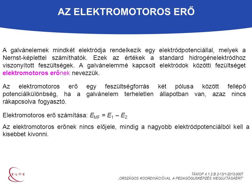 """AZ ELEKTROMOTOROS ERŐ TÁMOP 4.1.2.B.2-13/1-2013-0007 """"ORSZÁGOS KOORDINÁCIÓVAL A PEDAGÓGUSKÉPZÉS MEGÚJÍTÁSÁÉRT A galvánelemek mindkét elektródja rendelkezik egy elektródpotenciállal, melyek a Nernst-képlettel számíthatók."""