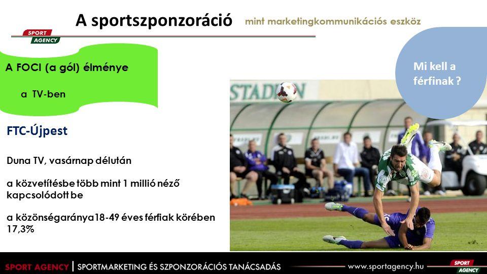 A sportszponzoráció mint marketingkommunikációs eszköz FTC-Újpest Duna TV, vasárnap délután a közvetítésbe több mint 1 millió néző kapcsolódott be a közönségaránya18-49 éves férfiak körében 17,3% A FOCI (a gól) élménye a TV-ben Mi kell a férfinak ?
