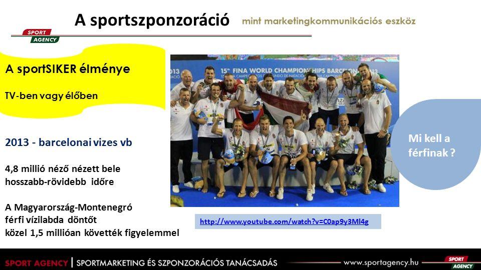 A sportszponzoráció mint marketingkommunikációs eszköz 2013 - barcelonai vizes vb 4,8 millió néző nézett bele hosszabb-rövidebb időre A Magyarország-Montenegró férfi vízilabda döntőt közel 1,5 millióan követték figyelemmel Mi kell a férfinak .