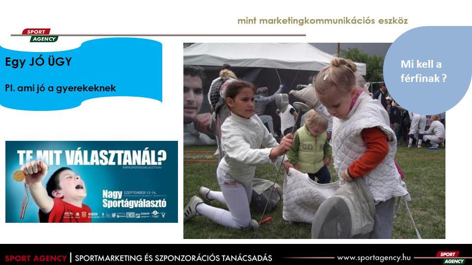 mint marketingkommunikációs eszköz Egy JÓ ÜGY Pl. ami jó a gyerekeknek Mi kell a férfinak ?